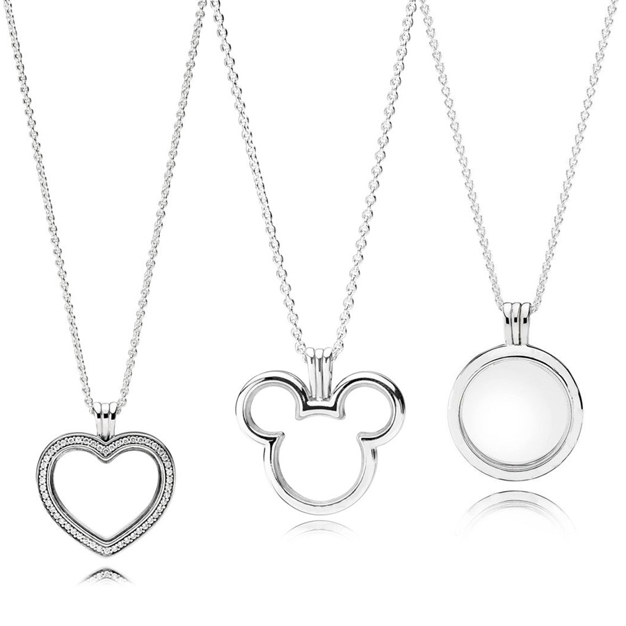 3 Style Authentic 925 Sterling Silver Necklaces Heart Mouse Magic Box Crystal Pendant Necklace Bracelets for Women Jewelry