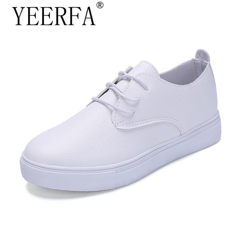 YEERFA 2017 Woman Walking shoes Women Shoes Flats Black white Loafers Slip On Women's Flat Shoes Moccasins Plus Size 35-40 genuine leather flats women loafers woman slip on shoes casual skate walking flat shoes plus size 34 40 41 42 43