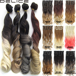 Delice 7pcs set new style 24 100g clip in wavy curly ombre hair extensions synthetic hairpieces.jpg 250x250