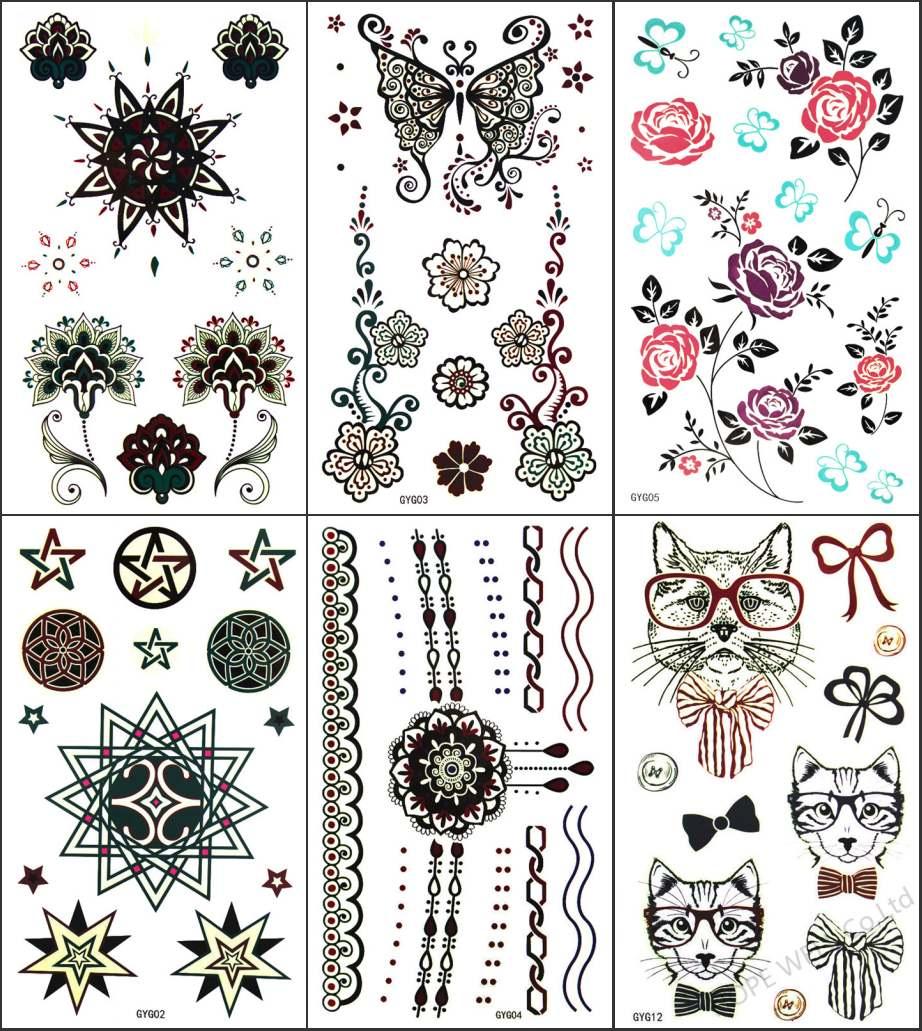 ᐂ6 hojas luminiscente tatuaje Henna Rosa pajarita gato diseño ...
