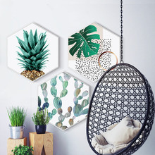 Creative hexagonal Nordic plants decorative painting Bedroom living room study Sofa wall restaurant mural with frame