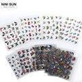 24 unids/lote Agradable Nail Art Sticker Pegatinas de Transferencia de Agua 3d Calcomanías de Mariposas Decoración DIY Belleza Manicura Foil Wraps Wholesale