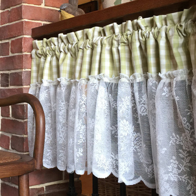 XYZLS American Style Plaid And Lace Kitchen Curtains Shade Cafe Curtain  Short Door Curtain Panel Drapes