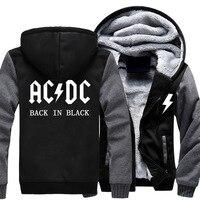 Fashion AC DC Band Rock Hoodie Sweatshirt Coat Unisex Thicken Winter Hoodies Sweatshirts Jacket Hoody Casual