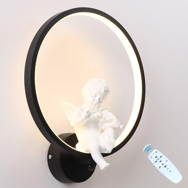 Светодиодный настенный светильник затемненный сегмент 2,4 г RF пульт дистанционного управления современная спальня гостиная настенный светильник птицы лампа «Ангел» светильники алюминий