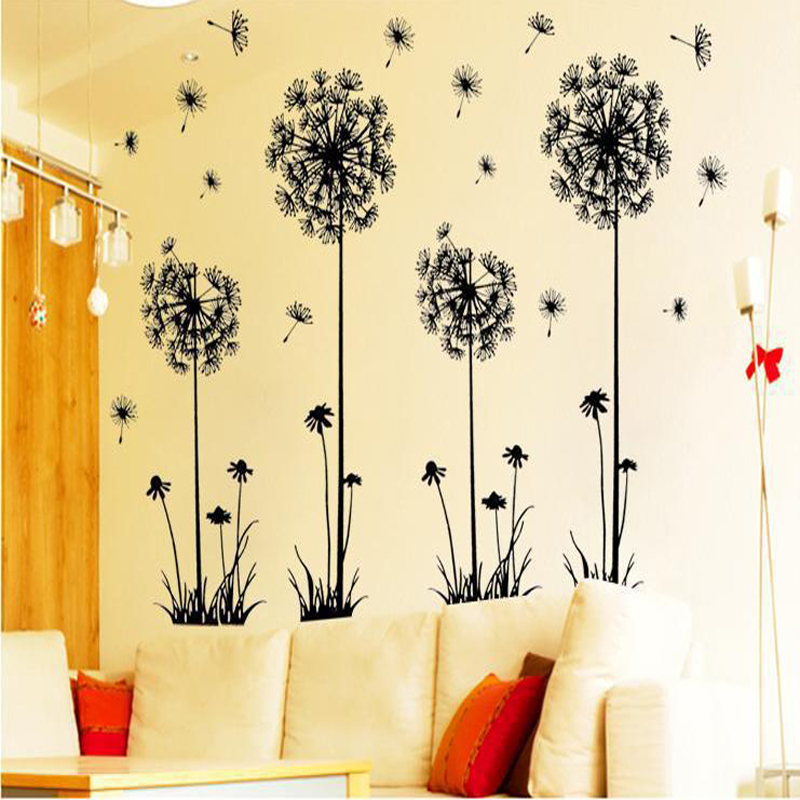 Removable Dandelion Flower Wall Sticker Home Decor For Kids Rooms ...