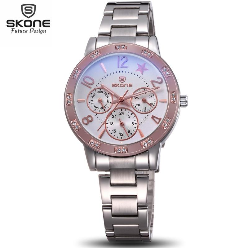 SKONE Luminous Rhinestone Bezel Sieviešu hronogrāfs Pulksteņi Lady Fashion Sudraba pulkstenis Sieviešu analogie kvarca pulksteņi