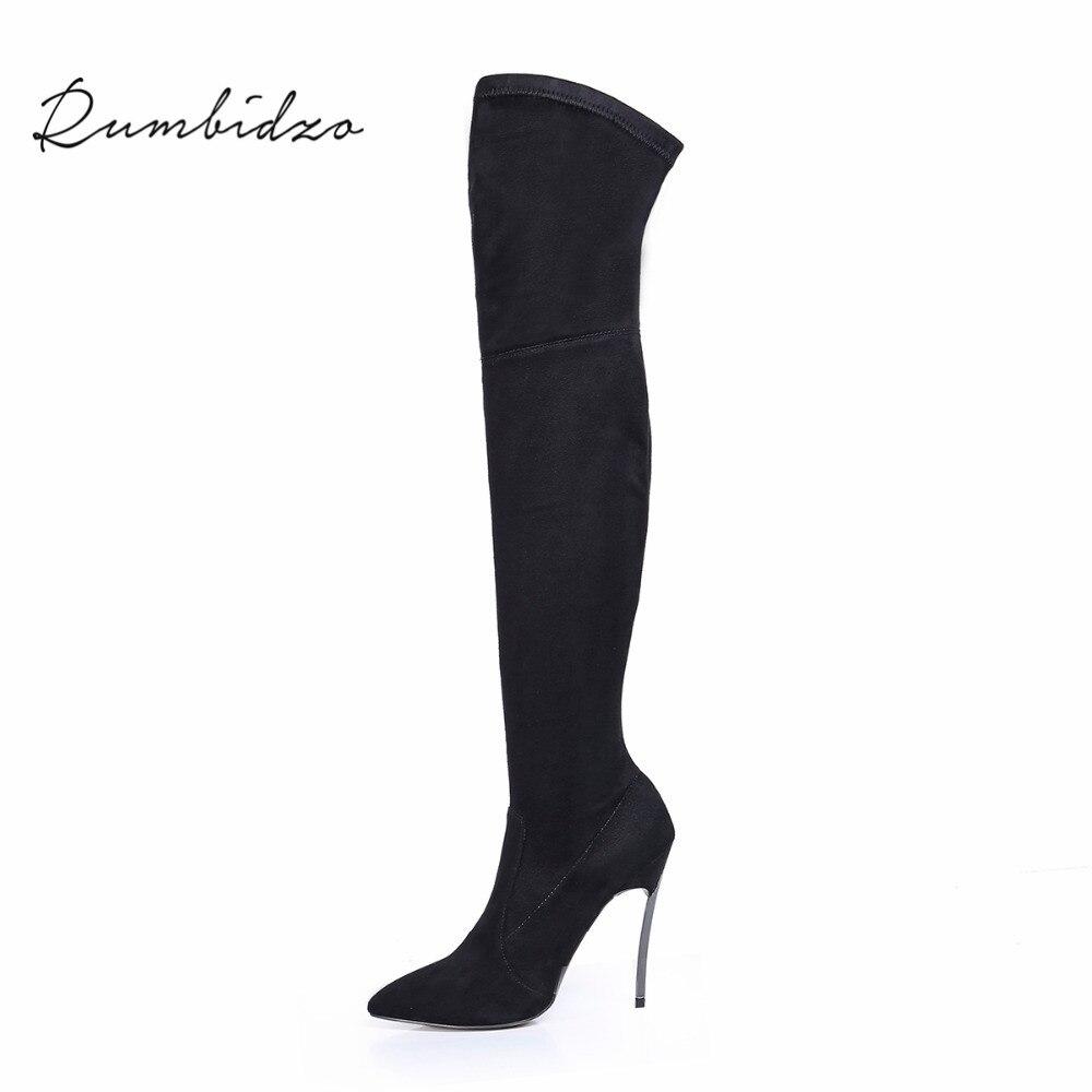 Rumbidzo 2018 осенне-зимние женские ботинки Стрейчевые тонкие высокие сапоги до бедра модные Ботфорты женская обувь на высоком каблуке Sapatos