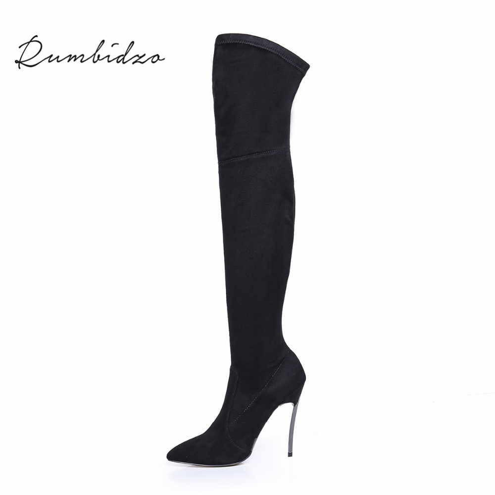 Rumbidzo 2019 Autumn Winter Women Boots Stretch Slim Thigh High Boots Over the Knee Boots High Heels Pointed Toe Sapatos