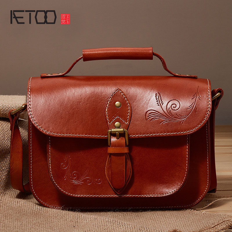AETOO New leather handbags retro postman headband cowhide tanned leather shoulder bag Messenger bag handbagAETOO New leather handbags retro postman headband cowhide tanned leather shoulder bag Messenger bag handbag