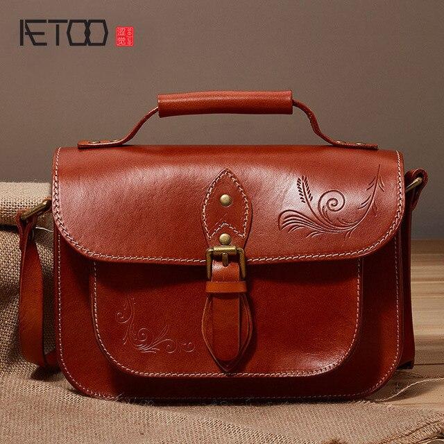 AETOO Novas bolsas de couro carteiro retro headband do couro ombro saco  saco Do Mensageiro bolsa 08e1e10160