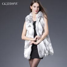 2016 Genuine Rabbit Fur Vest Hooded Rabbit Fur Gilet Winter Real Fur Sleeveless Jacket For Women QS-104
