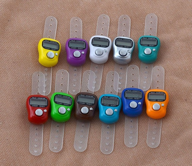 DHL Free Shipping Mini Hand Hold Band Tally Counter LCD Digital Screen Finger Ring Electronic Head Count Tasbeeh Tasbih #HDX36