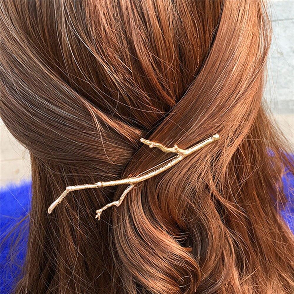 Gold Elegant Hair Barette Wedding Hair Accessories Wedding Hair Barette Bachelorete Giveaway| Branch Tree Hair Clips Designer Hair