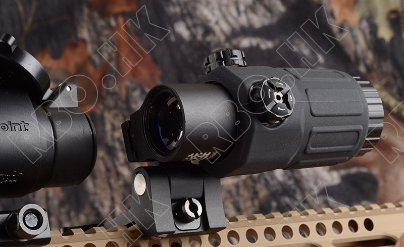 Tactical holographic red dot sight scope 3x Magnifier side picatinny rail base mount BK M7467