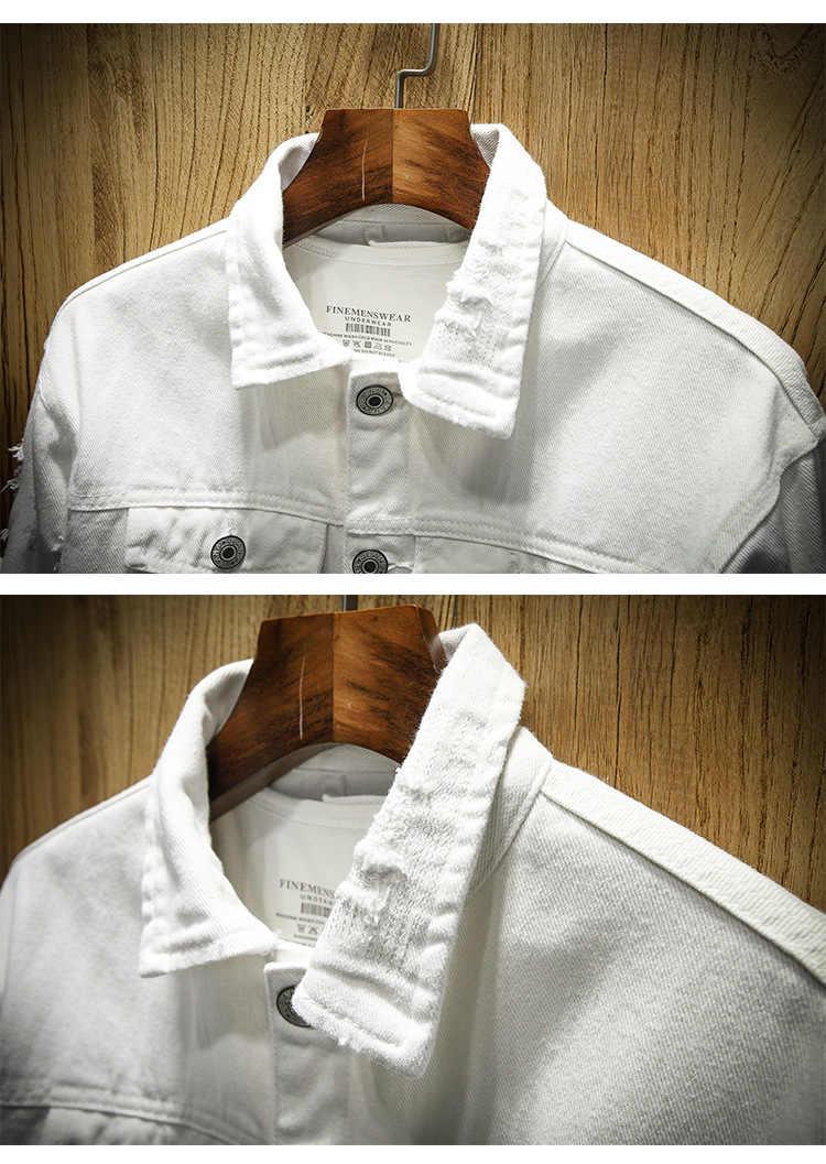 e085cbaa ... New Fashion Brand Denim Jacket Men Ripped Holes Mens Pink Jean Jackets  New 2019 Garment Washed