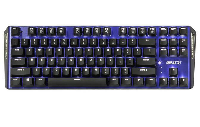 Rantopad MXX Gaming Mechanical Keyboard 87 Keys Gateron Blue Switches White Blue Backlight Pure Aluminum Top