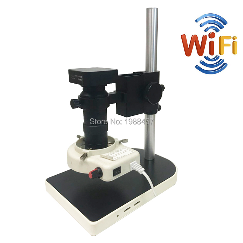 HD WIFI USB 2.0 Output Digital Video Industrial Microscope Camera Set+100X Zoom C-mount Lens+56 LED Ring Light for Phone Repair hd 13mp hdmi vga output digital industrial microscope video camera 1 100x zoom c mount lens for phone repair