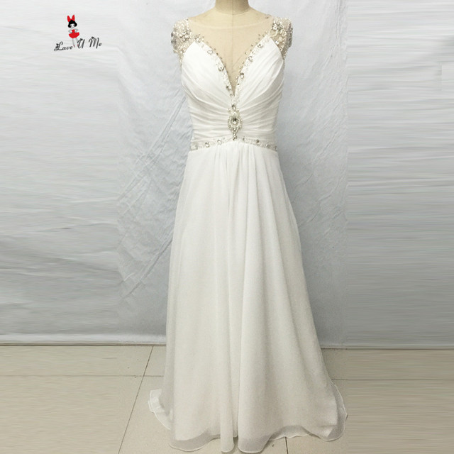 Summer Beach Wedding Dress Chiffon Backless Bridal Dresses 2017 Beads A  Line China Cheap Wedding Gowns Vestidos de Noiva Baratos 27f2016452b0