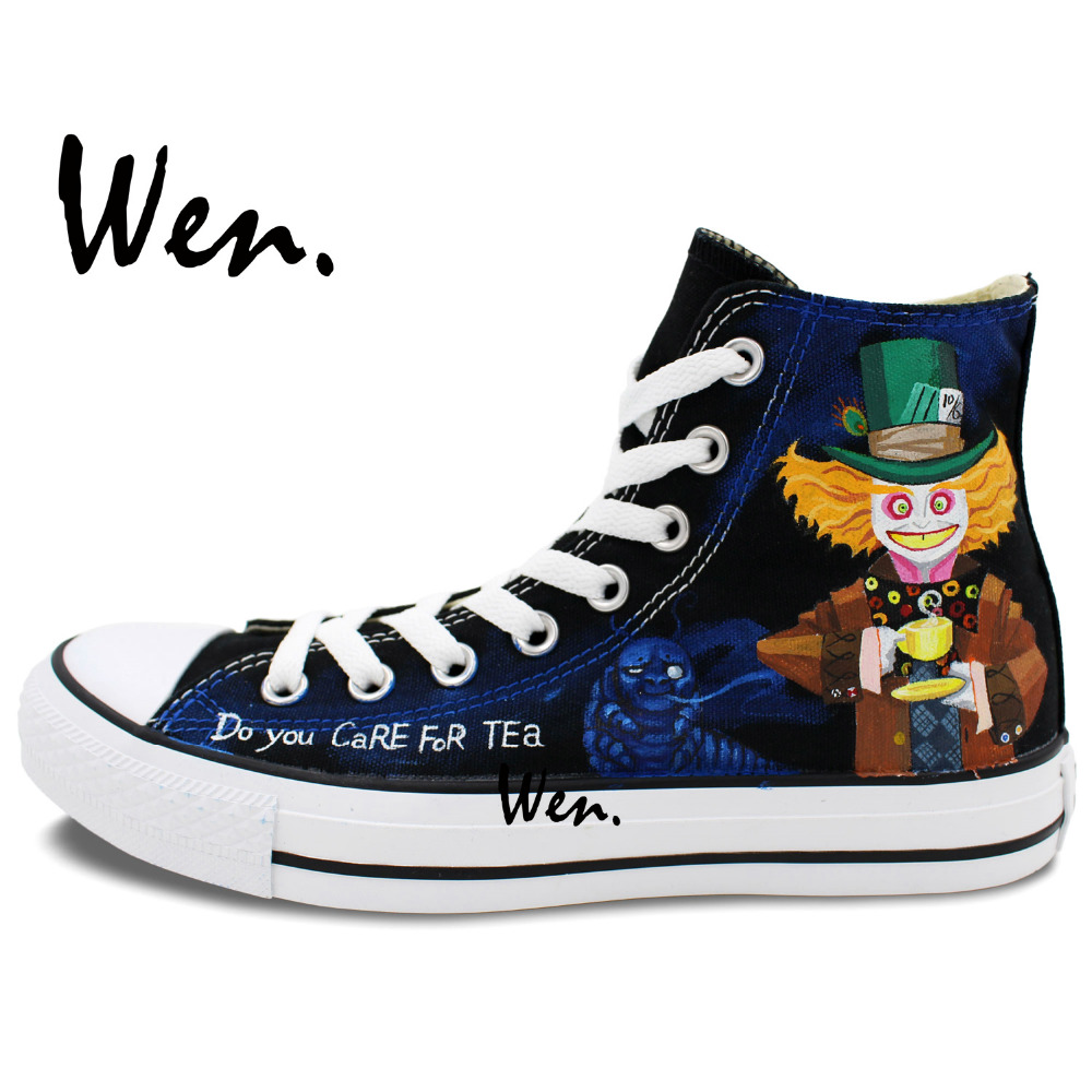 Wen Design Custom Original Hand Painted Shoes Cheshire Cat Mad Hatter High  Top Canvas Sneakers for Men Women-in Skateboarding from Sports   Entertainment  on ... ee01381ee8a4