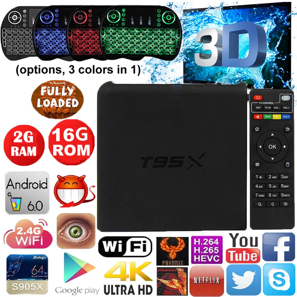 T95X tv box Amlogic S905X Android 6.0 TV Box Quad Core 2g 16g 4K iptv wifi Airplay Miracast Smart TV Box Media Player PK X96 newest amlogic s905x tv box nexbox a95x nexbox android 6 0 box 2g 16g quad core 2 4g wifi smart tv box android tv box