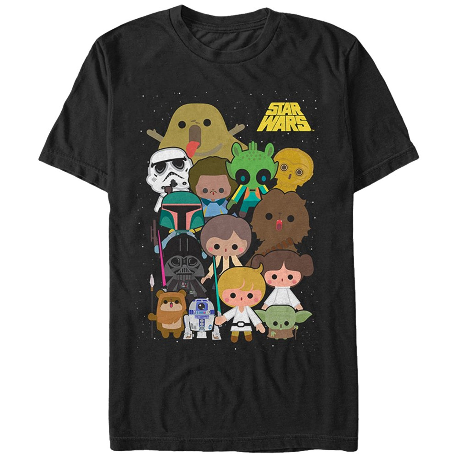 New 2017 Fashion Hot Short Star Wars Cute Cartoon Character Group Mens Graphic T Shirt New Style Crew Neck Tee Shirt For Men
