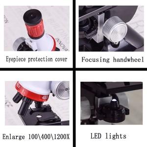 Image 5 - Zestaw mikroskopu Lab z uchwytem na telefon LED School Science zabawka edukacyjna prezent rafinowany mikroskop biologiczny na prezenty dla dzieci