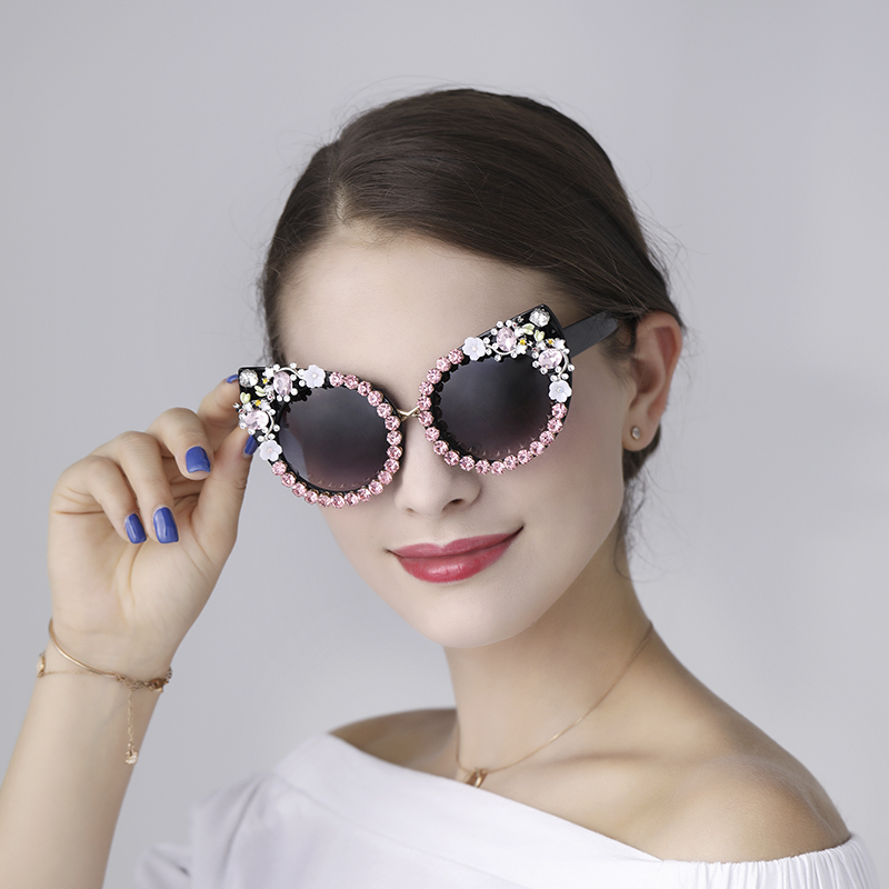 5 design Sunglasses Women Luxury Brand sunglasses Rhinestone Cat Eyes Sun glasses Vintage Shades for women Oculos Dropshipping