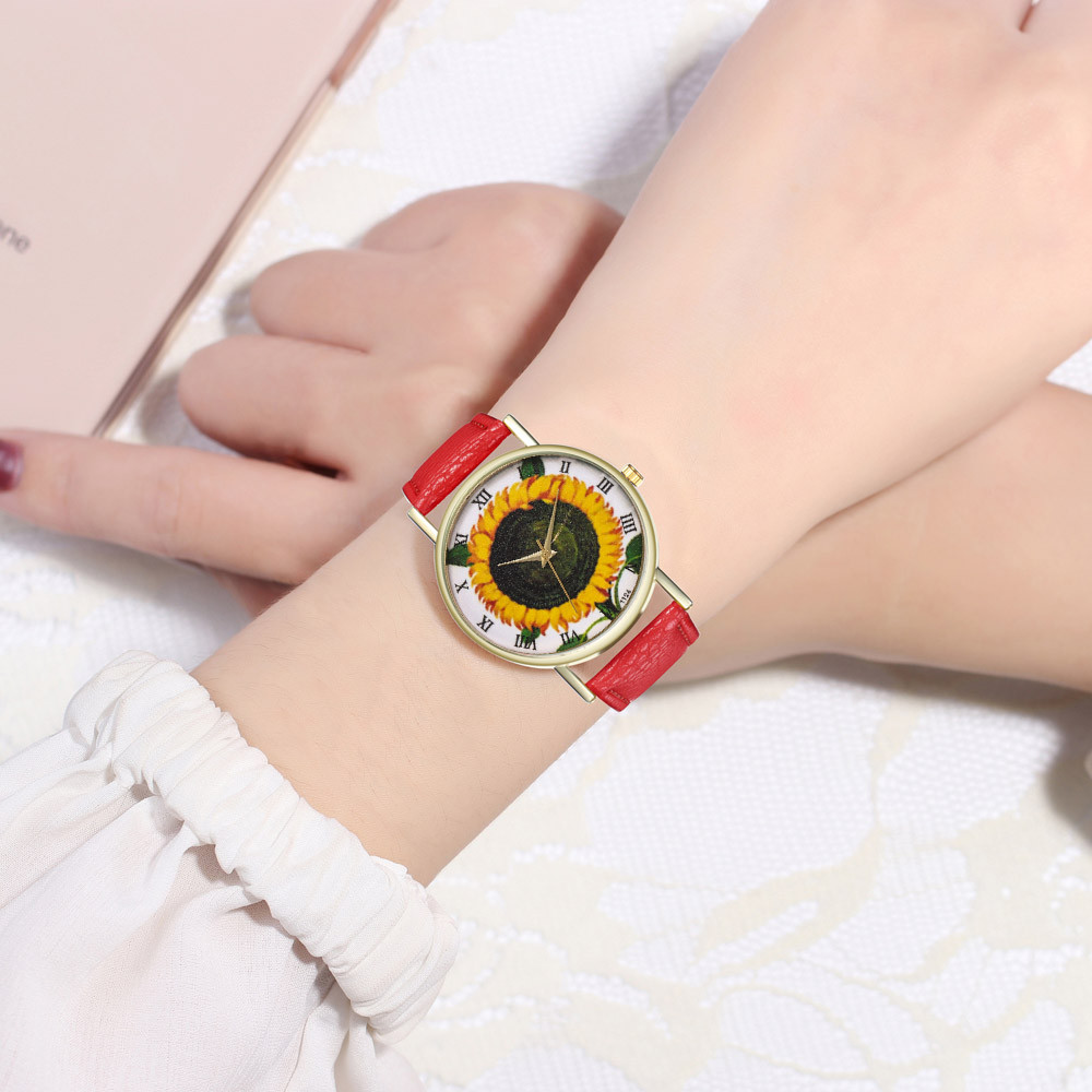 Classic Fashion Unisex Watch Top Brand Ladies Watch 2019 Casual Simple Sunflower Pattern Print Leather Watch Reloj Mujer Clock#B