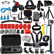 For Gopro hero accessories set Aluminum alloy for Go pro 5 4 3+ 3 CNC Removable Car Suction Cup selfie stick mount 19A