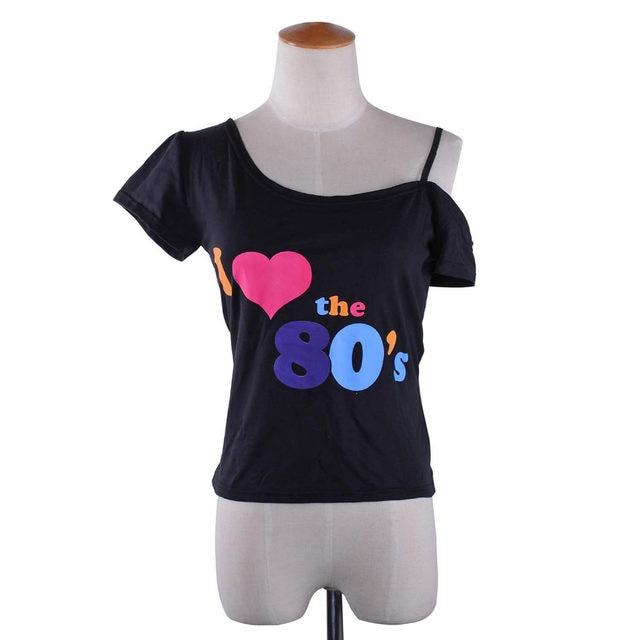 700146b0941ad Online Shop Women s I Love The 80s T-Shirt Black off-shoulder T ...