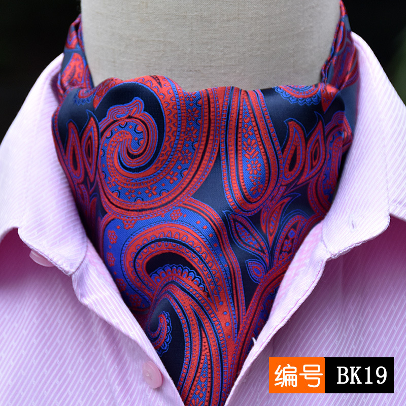 Married male cravat double faced yarn dyed silk scarf suit shirt commercial scarf collar mouth towel Wine red