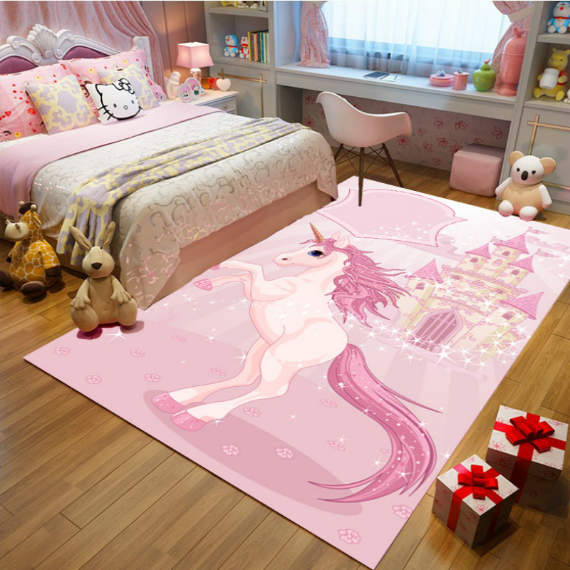 The Princess Pink Carpet Antiskid Crawl Cartoon Kids Room Rugs And Carpet  Unicorn Decoration Bedroom Area Rug Cute Tapete