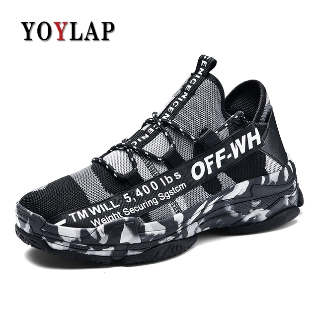 YOYLAP Big size 39-46 Sneakers For Men camouflage Casual Men Shoes Breathable Mesh Shoes Fashion Flats Leisure male footwear