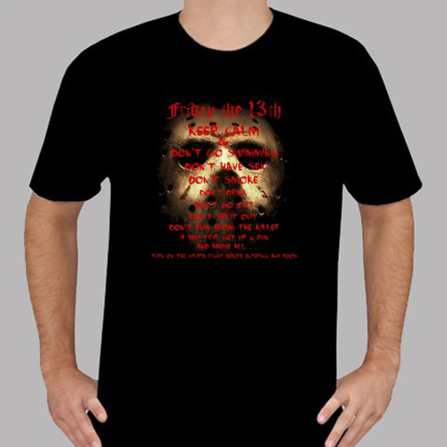 T Shirt Design Online Mens Short New Jason friday The 13th Horror Movie Icon Mens Black T-Shirt Size S to 3XL O-Neck
