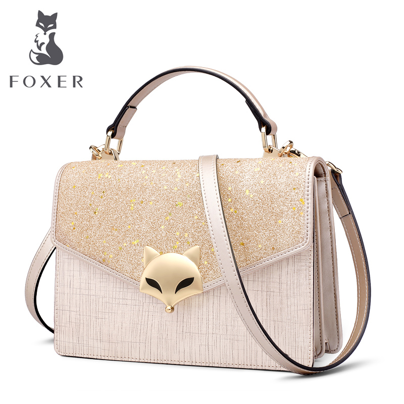 FOXER Women Split Leather Crossbody Bags FOX Sequins Handbag Female Fashion Blingbling Glitter Shoudler Bags Purse