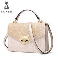 FOXER Women Split Leather Crossbody Bags FOX Sequins Handbag Female Fashion Blingbling Glitter Shoudler Bags Purse for Girls