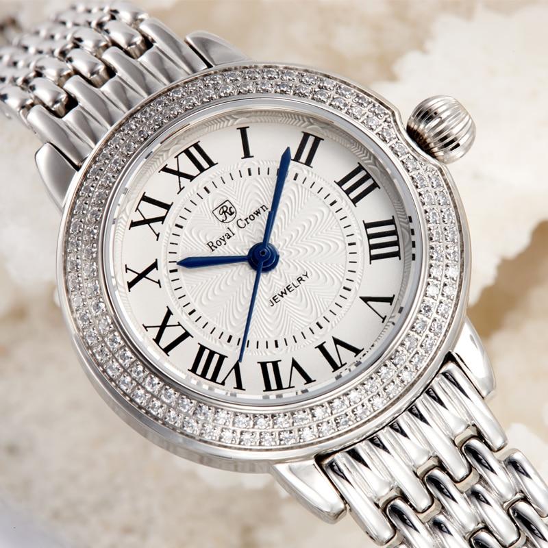 Saatler'ten Sevgili Saatleri'de Safir Kristal Güzel kadın Izle Ronda movt Tüm Paslanmaz Çelik Bilezik Lady Saat kızın Hediye Retro Saat kraliyet Taç'da  Grup 1
