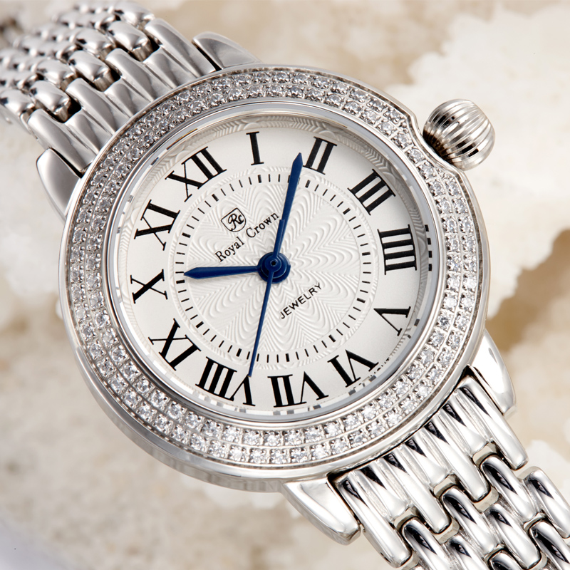 Sapphire Crystal Fine Women's Watch Ronda Mov't All Stainless Steel Bracelet Lady Hour Girl's Gift Retro Clock Royal Crown