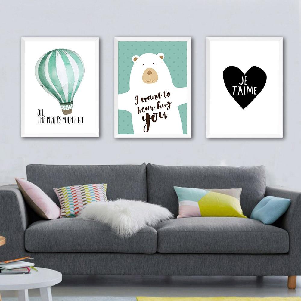 US $3 29 OFF Nordic Seni Kartun Beruang Balon Kanvas Poster Lukisan Minimalis Lucu Anak Kamar Dekorasi Dinding Gambar Cetak Modern di Painting &