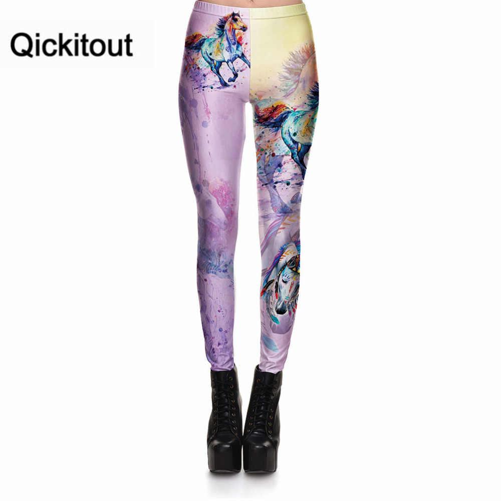 Qickitout леггинсы для фитнеса женские леггинсы градиентного цвета бог лошадь сексуальные модные эластичные брюки с цифровым принтом крутые брюки