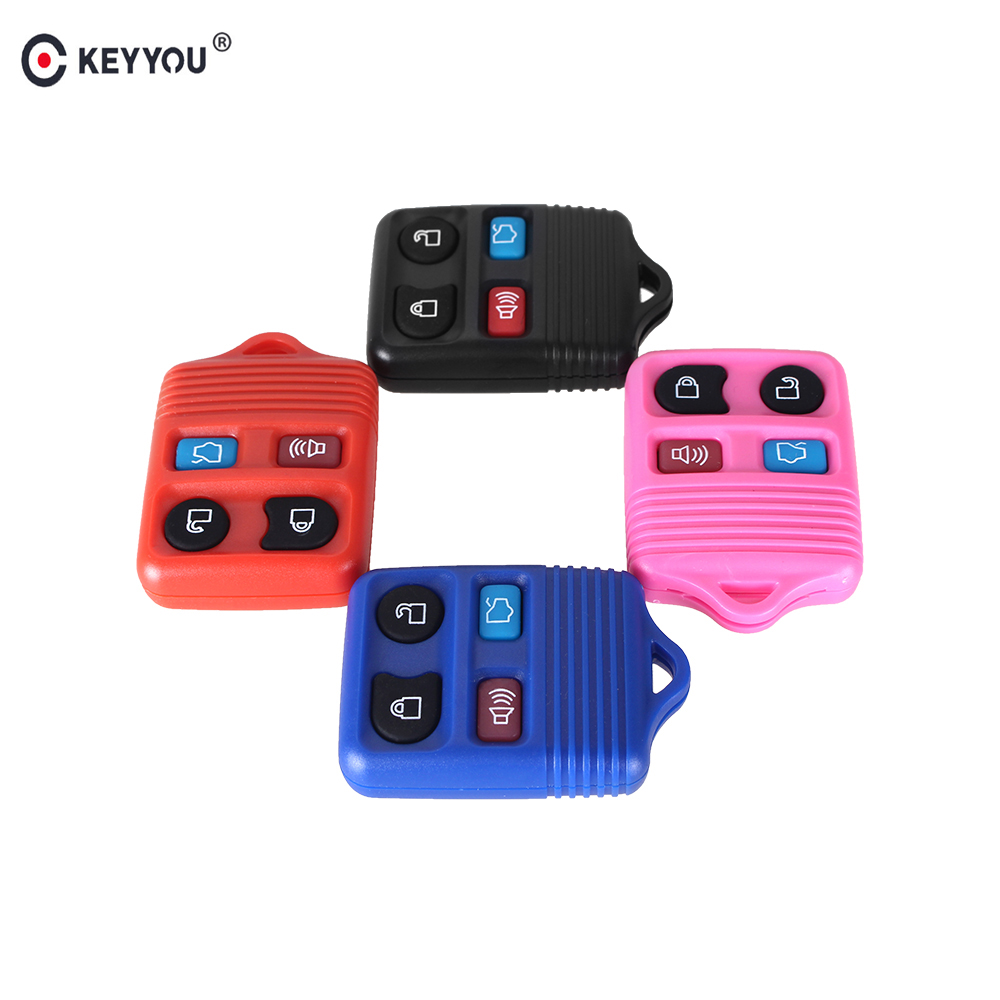 Keyyou 20x 4 buttons 4 colors remote key shell case fob for ford mustang focus lincoln