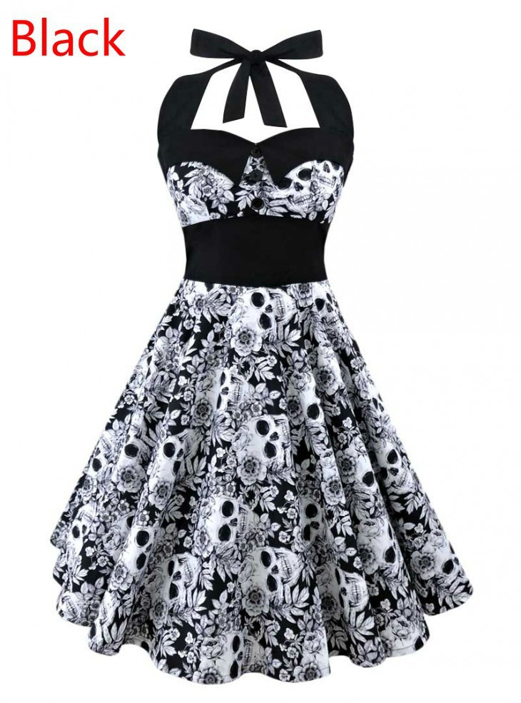3D Skull Floral Printed Summer Women Dress Vintage Sleeveless Halter Plus Size Party Sexy Casual Dress