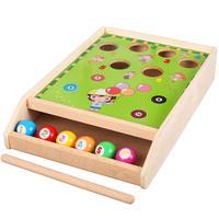 Mini Wooden Billiard Pool Table Game 1 Stick + 6 Balls Fun Sport Game Educational Toys Birthday Gift for Children Toddler Kids