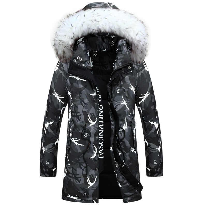2019 новая зимняя куртка мужская мода камуфляж узор длинная куртка утолщение Повседневная с капюшоном меховой воротник белый утиный пух пальто