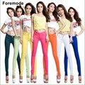 Foremode boutique de doces coloridos das mulheres do sexo feminino calça jeans skinny cor sólida stovepipe lápis calças de brim das mulheres calças de brim 15 cores