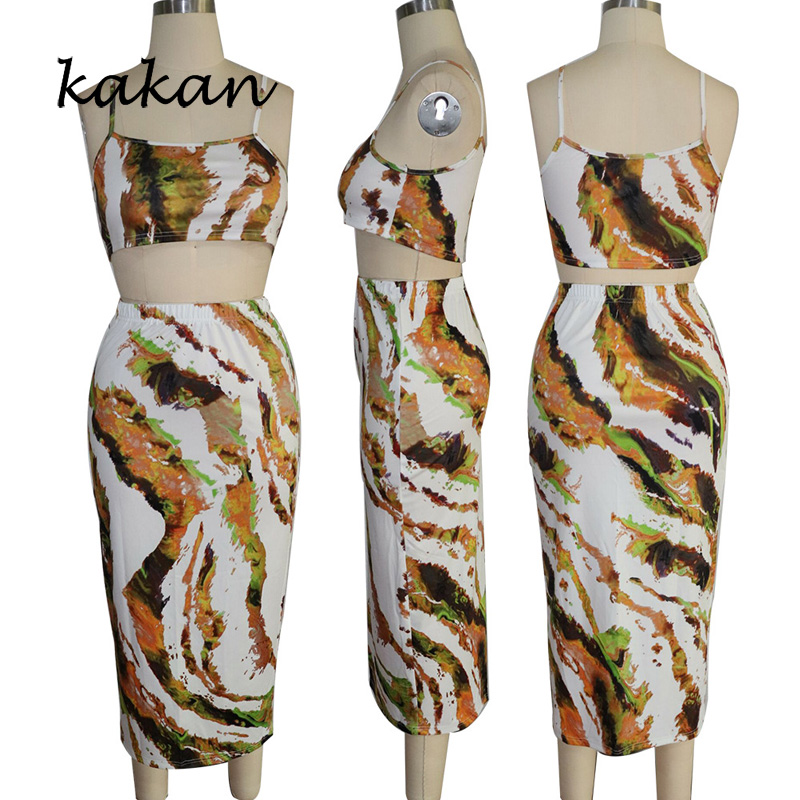 Kakan summer new women 39 s print dress two piece sexy nightclub sleeveless print strap dress set in Dresses from Women 39 s Clothing
