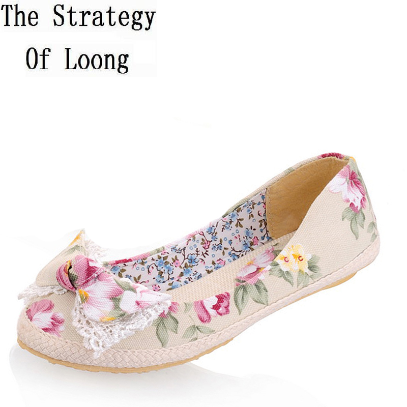 2017 New Arrival Women Flats Spring Summer Autumn Fashion Bowknot Floral Cloth Woman Casual Flat Shoes Plus Size 34-44 SXQ0602 de la chance 2018 new fashion women casual shoes adults colorful women s flats shoes woman breathable harajuku flat plus size