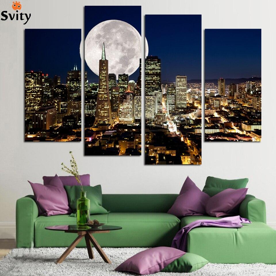 Fullmoon nad městem Krajina Obraz Obraz na plátně Malování pro bytové dekorace Obývací pokoj Cuadros Decor (Unframed)