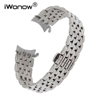 Curved End Stainless Steel Watchband 18mm 20mm 22mm for Bulova Invicta Ernest Borel Watch Band Butterfly Buckle Belt Wrist Strap